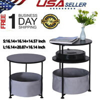 3 Layer Round End Table Office Home Side Sofo Desk Storage Double Nightstand US