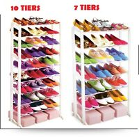 7 & 10 Tiers Shoe Rack Stand,  21 & 30 Pairs Storage Organiser Easy to Assemble,