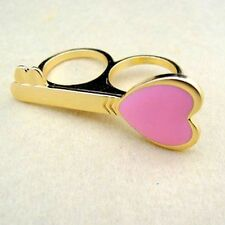 Vintage gold tone pink oil spot key double finger ring