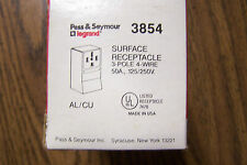 P&S LEGRAND 3854 SURFACE RECEPTACLE 3POLE, 4 WIRE 50A 125/250V *NEW*
