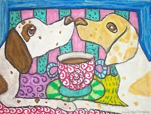 Pointer dog pop art portrait 5 x 7 PRINT of painting Dogs Having Coffee by KSams