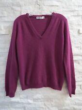 Jil Sander Berry 100% Cashmere V-Neck Long Sleeve Sweater 40 10 M