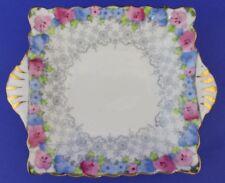 Vintage Crown Staffordshire English Porcelain Floral Handled Sweet Meat Nut Dish