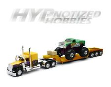 NEWRAY 1:32 KENWORTH W900 LOWBOY WITH MONSTER TRUCK DIE-CAST YELLOW SS-11263B