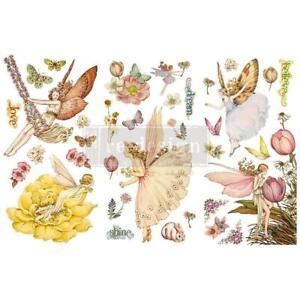 "Prima Marketing Re-Design Decor Transfers 6""X12"" 3 Sheets - Fairy Flowers"