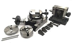 """4""""100MM ROTARY TABLE+HORIZONTAL VERTICAL+TAILSTOCK+M6 CLAMP+70MM 4JAW DOG+VICE"""