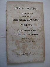 Original Thinking Address Societies Hanover College Indiana Cincinnati OH 1855