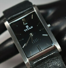 Titan Edge Black Dial Super Thin Leather Band Men's Watch NEW BATTERY!