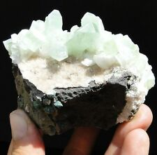 "3.5"" Green APOPHYLLITE on Stilbite and matrix rock - India, Pune, Lonavale"