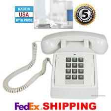 RETRO WHITE PUSH BUTTON DESK TELEPHONE VINTAGE STYLE CORDED PHONE NEW
