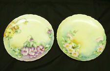 "2 Rosenthal Versailles Germany Painted Pink & Purple Flowers 6.75"" Plates w Gold"