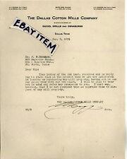 1931 Texas DALLAS COTTON MILLS Walter Hogg CALAHAN PERKINS CAMP JAMIESON MORTON