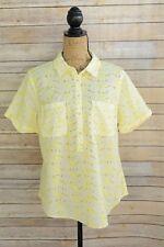NWOT Merona - Yellow white eyelet COTTON short sleeve partial button shirt, L