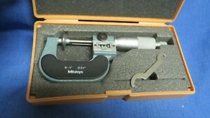 """Mitutoyo Disk Micrometer 0-1"""" Model 223-125 With Adjustment Wrench And Case."""