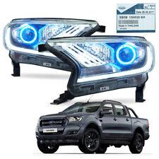 Pair Head Lamp Light Projector Trim Black Fits Ford Ranger T6 Pickup 2015 - 2017