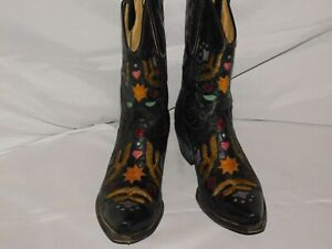 OLD GRINGO YIPPEE YI YAY BLACK LEATHER BOOTS SIZE 9 1/2B
