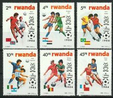 World Cup Soccer Mexico 1986 set of 6 mnh stamps Rwanda #1256-61 flags football