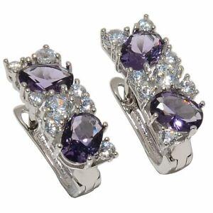 """Brazilian Amethyst & White Topaz 925 Sterling Silver Jewelry Earring 0.79"""" S2661"""