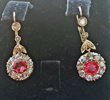 BEAUTIFUL ANTIQUE VICTORIAN 14K 1.50CT ROSE DIAMONDS RICH ELEGANT DANGLE EARRING