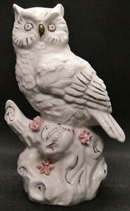 Large White Owl on Branch with Gold Trim