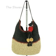 SONOMA Women's NATURAL, RED & BLACK STRAW HANDBAG Tote POM TASSELS Brown Handle