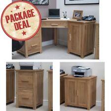 Eton Solid Oak Office Furniture Corner Desk, Filing Cabinet and Printer Cupboard