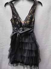 Xtraordinary Size 3 Little Black Dress Lace Halter With Tulle Ruffle Skirt