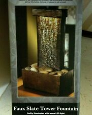 NEW Sophia Elan Faux Slate Tower Lighted Table Top WATER FOUNTAIN = GREAT GIFT!!