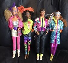 Lot of 4 1985 BARBIE & THE ROCKERS Dolls - Dee Dee, Derek, Diva, Barbie