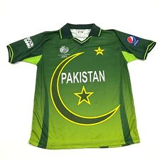 New Pakistan National Cricket Jersey Size Large Green Dry Fit Polo Ringer Shirt
