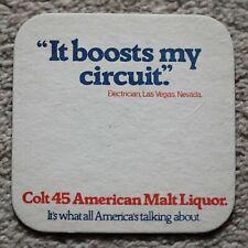 Vintage Colt 45 American Malt Liquor Beer Mat Las Vegas Electrician Quote