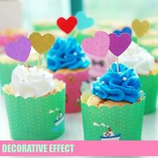 10 Glitter Heart Cupcake Toppers Party Decoration Cup cake topper Food Flags
