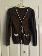 Brown Varsity College Style Knit Cardigan Size 8