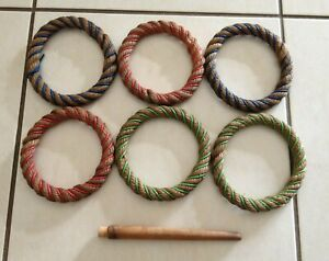 Vintage 6 x Rope Quoits from 1970s - Missing Base