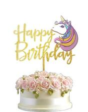 Polka Dot Sky Unicorn 3D Art Gold Glitter Birthday Party Acrylic Cake Topper UK