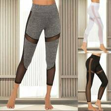 Women Fitness Tight Pants Mesh Contrast Gym Leggings High Waist Sportswear JD