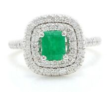 2.75 Carat Natural Colombian Emerald and Diamonds 14K White Gold Women's Ring