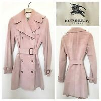 Burberry Trench Coat Pink Suede Classic Mac Raincoat Long Jacket | Size UK 8