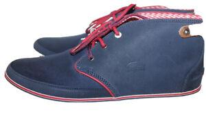 NWT Lacoste Clavel Blue Canvas  Men Hi Top Sneakers 11