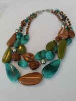 Vintage Agate & Glass bead multi-strand bib/collar necklace 16 inches