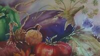GARDEN VEGETABLE TOMATO CUCUMBER ONION EGGPLANT PEPPER CHIVES GARLIC WC PAINTING