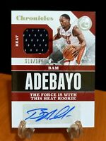 Bam Adebayo 2017-18 Chronicles Signature Swatches 18/199 Rookie JERSEY AUTO Heat