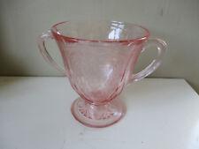 VINTAGE HAZEL ATLAS ROYAL LACE Glass PALE PINK Twin Handled sugar bowl