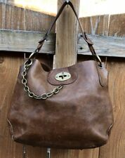 PAOLO MASI Dark Brown Leather Hobo Tote Turn-Lock Chain Purse Shoulder Bag ITALY