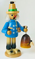 "Vintage Wooden Smoker BEE KEEPER Man Incense Burner 8"" Tall Figurine"