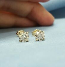 1.00 Carat Diamonds Stud Earrings Round Pair %100 Natural 14k Yellow Gold