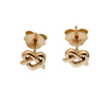 Celtic Heart Knot Earrings Rose Gold Over Sterling Silver Studs