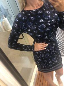 Michael Kors Paisley Print Dress Stretch Navy Multi S $110 Modest New