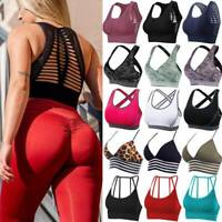 Women Seamless Sports Bra Padded Fitness Racerback Crop Tops Gym Workout Yoga A8