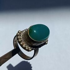 Beautiful Post Medieval Vintage Silvered Seal Ring With Green Stone